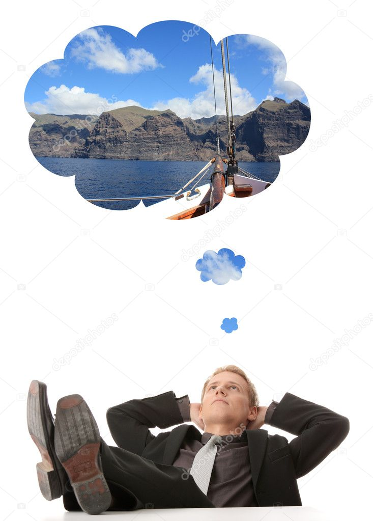 Young businessman thinking about vacations (sailing)  Stock Photo #3138959