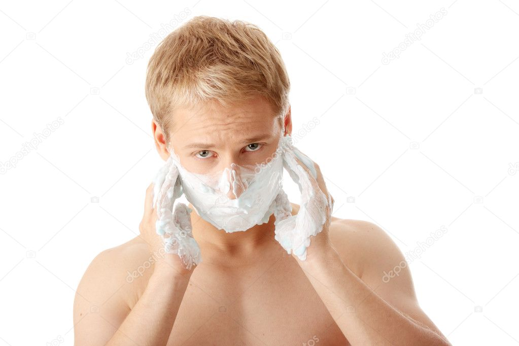 Man shaving isolated on white background  Stock Photo #3139253