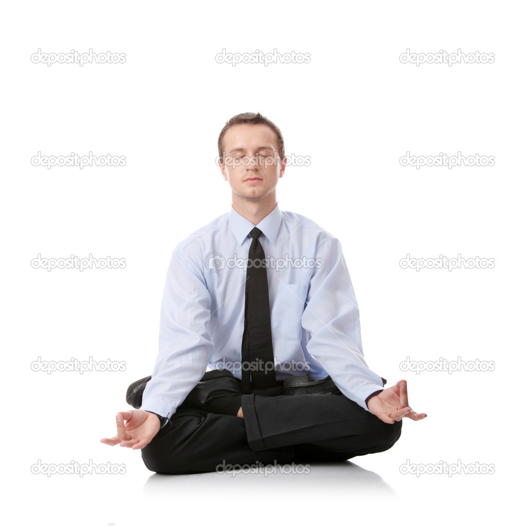 Businessman sitting in lotus position, Isolated against white background — Stock Photo #3139550