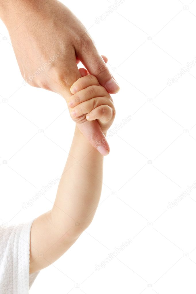 Baby hand holding mother finger isolated  — Stock Photo #3139843