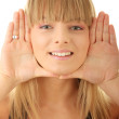 Young woman frame her face — Stock Photo