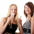 Stock Photo: Two casual young women enjoying champagne