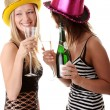 Two casual young women enjoying champagne — Stock Photo #3141382
