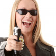 Portrait of the blonde with gun — Stock Photo #3141472