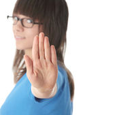 Teen girl gesturing to stop — Stock Photo