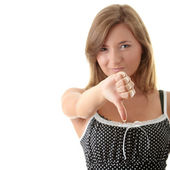Young woman with thumb down — Foto de Stock