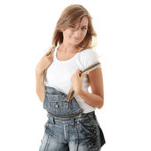 Timeless fashion with plain White T-Shirt and sh — Stock Photo