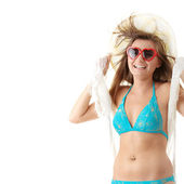 Cute young girl in swimsuit with white scarf on — Stock Photo