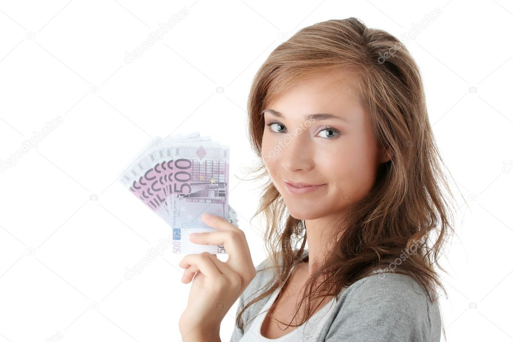 Happy young woman holding euro money isolated on white - loan concept  Stock Photo #3141734