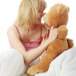 Charming blonde in bed — Stock Photo