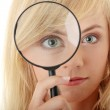 Teen girl with magnifier — Stock Photo