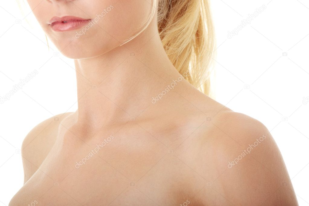 Neck and shoulder of a beautiful girl isolated on white background — Stock Photo #3663921