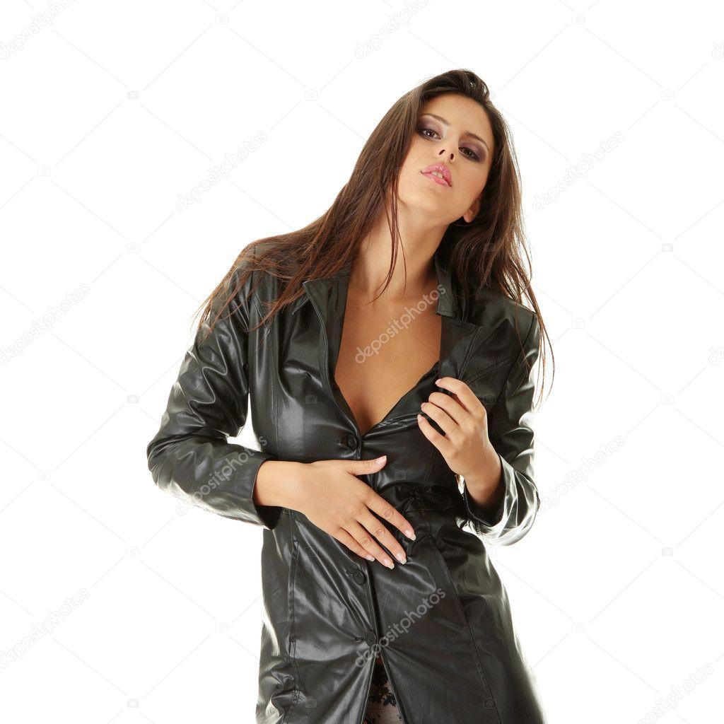Сексуальные девушка в чёрном кожаном плаще фото 10 фотография