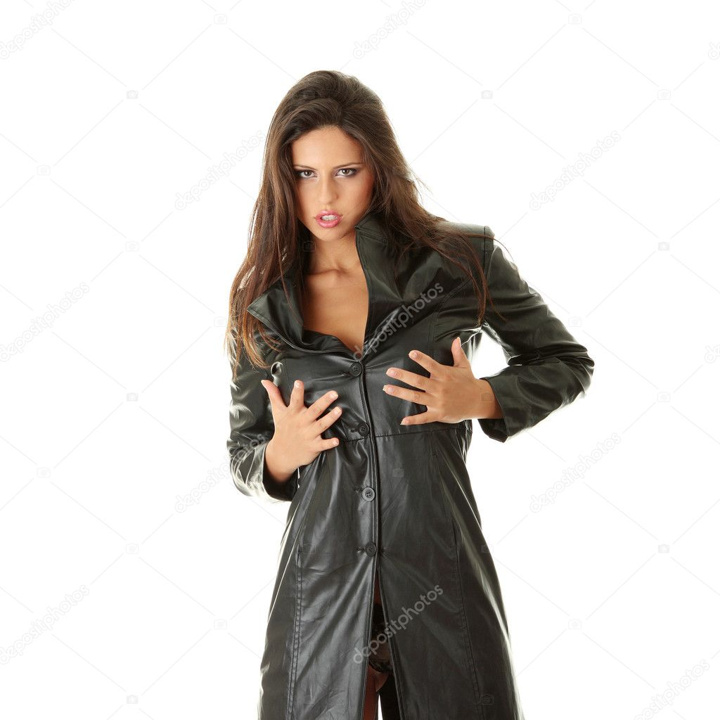 Сексуальные девушка в чёрном кожаном плаще фото 4 фотография