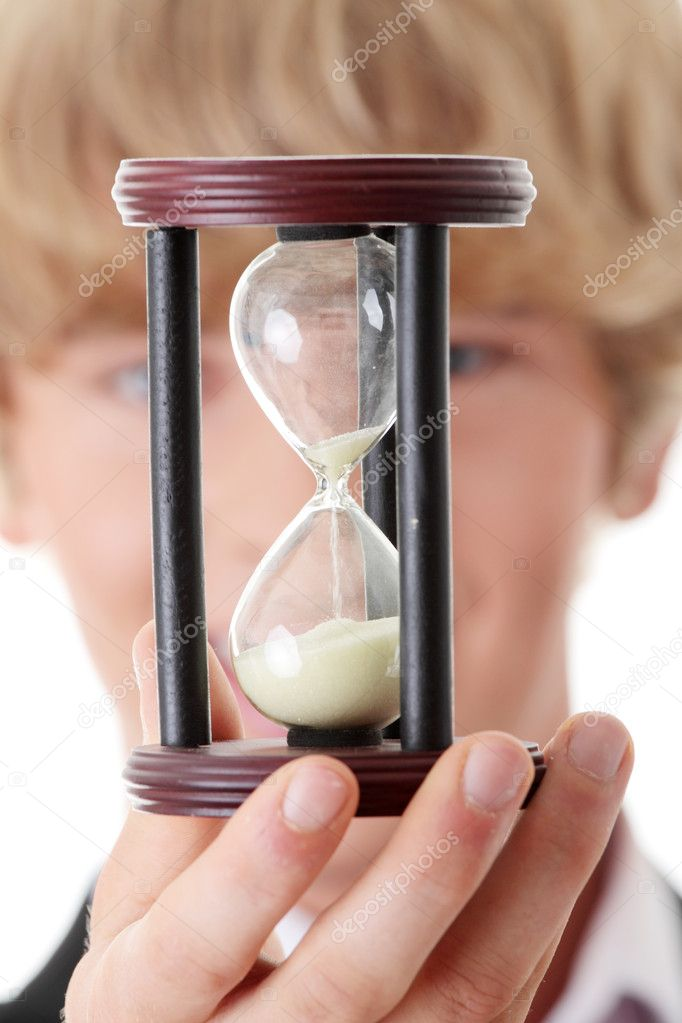 Businessman showing how to save time — Stock Photo #3815952