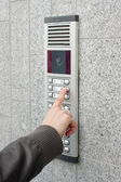Video intercom in the entry of a house — Stock Photo