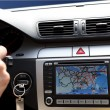 Exclusive car, windscreen, dashboard with gps panel - Stock Photo