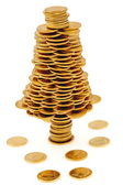 Happy Christmas tree made of gold coins — Stock Photo