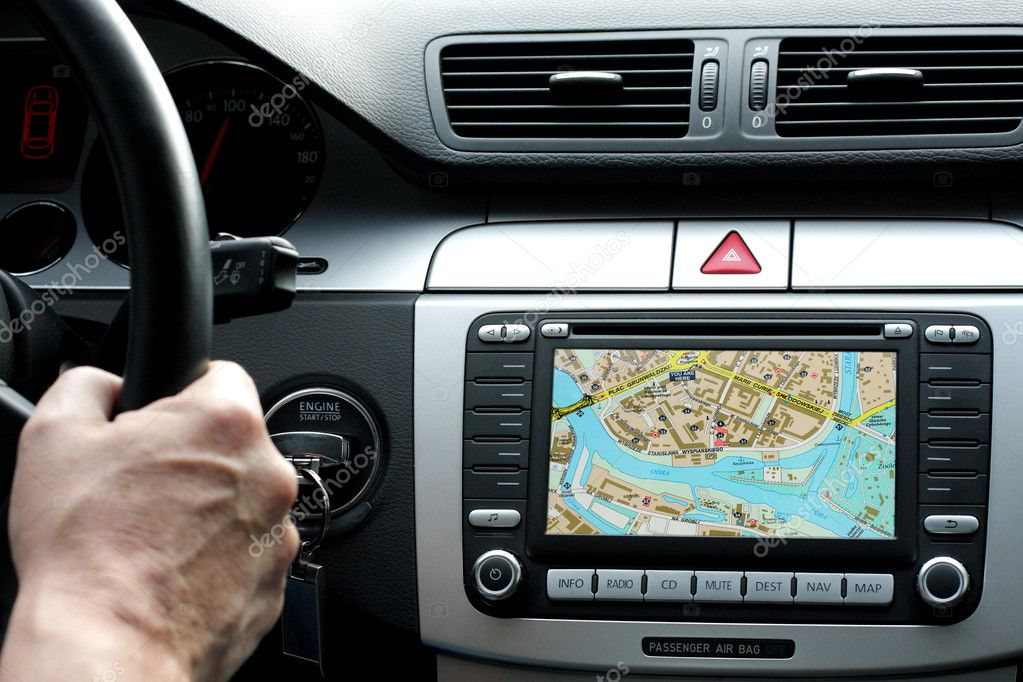 Small part of car dashboard with gps, travel concept — Stock Photo #3670228