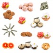 Collage of various sweet foods and tea — Stock Photo #3767374