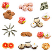 Collage of various sweet foods and tea — Stock Photo