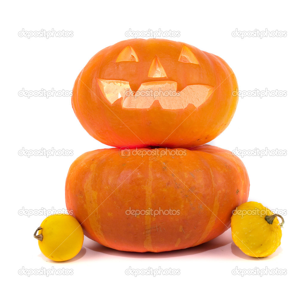 Halloween pumpkins isolated on a white background — Stock Photo #3821919