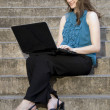 Woman Using Laptop — Stockfoto