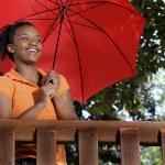 Black Woman Holding an Umbrella — Stock Photo #2896468