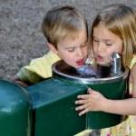 Kids Drinking Water — Stock Photo