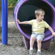 Boy on Slide - Lizenzfreies Foto