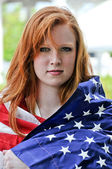 Woman Wrapped in a Flag — Stockfoto