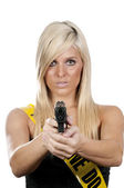 Woman with Gun — Stockfoto