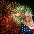 Stock Photo: Woman at Fireworks