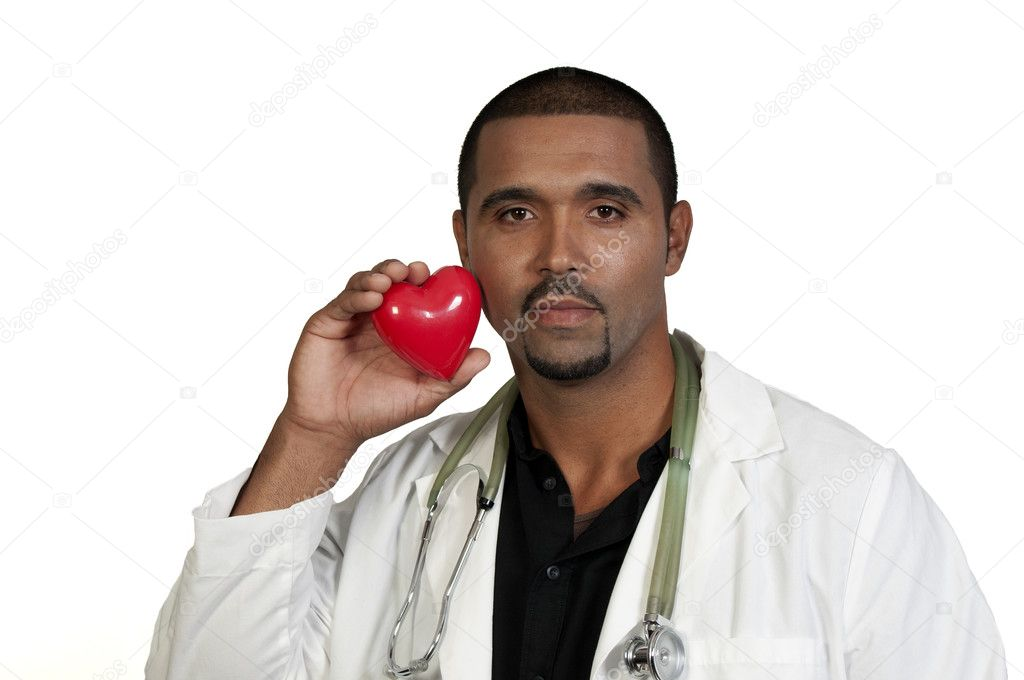 A male cardiologist holding a red heart — Stock Photo #3770494