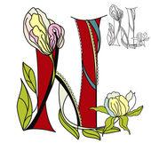 Floral font2. Letter N — Stock Vector