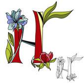 Floral font 2. Letter H — Stock Vector