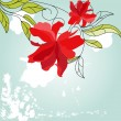 Blue background with red flowers — Stock Vector