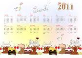 Template for calendar 2011 — Stock Vector