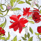 Floral seamless pattern with red flowers — Stock Vector