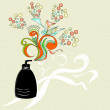Cosmetic container with floral ornament — Imagen vectorial