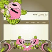 Retro stylized website design template — Stock Vector