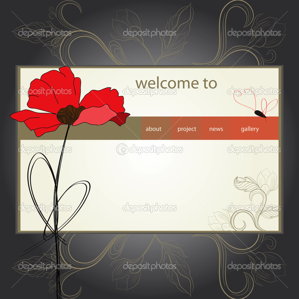  website design template with poppy flower  Stock Vector #2989084