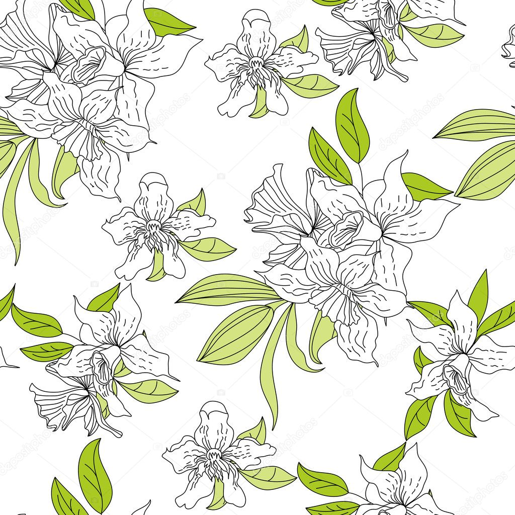 Romantic seamless wallpaper with narcissus flowers — Stock Vector #3026096