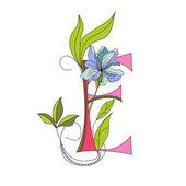 Floral font 2. Letter E — Stock Vector