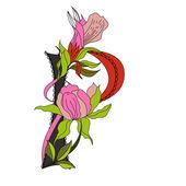 Floral lettertype 2. letter p — Stockvector