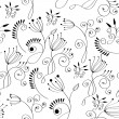 Monochrome floral background — Stock Vector