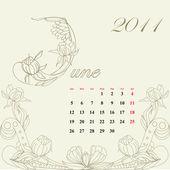 Vintage calendar for 2011, june — Stock Vector