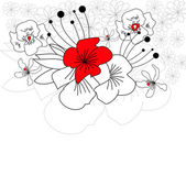 Greeting card with flowers — Vecteur