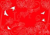 Röd bakgrund med vintage blommor och fågel — Stockvektor
