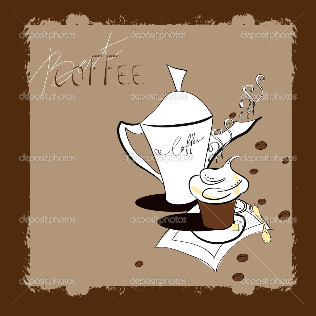Retro stylized template with a cup of coffee.Set 1 — Stock Vector #3403731
